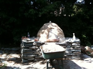 Vicky's awesome homeade mud and stone pizza oven